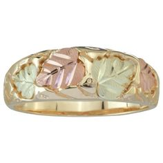 Black Hills Gold Motif Band, 10k Yellow Gold, 12k Green Gold, 12k Rose Gold, Size 9.5 http://www.easterdepot.com/black-hills-gold-motif-band-10k-yellow-gold-12k-green-gold-12k-rose-gold-size-9-5/ #easter  Legend has it: Good luck comes to all who wear Black Hills Gold Jewelry.   Gorgeous 10k yellow gold band with Black Hills Gold pink and green leaves motif. The band tapers in back, which makes for a comfortable fit. Matching mens' band is available. This ring contains no nickel; it'..