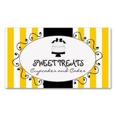 Yellow Stripes Cupcake Cake Bakery Business Card Template. This is a fully customizable business card and available on several paper types for your needs. You can upload your own image or use the image as is. Just click this template to get started!