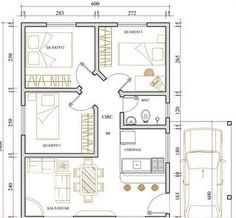 """Planta simples de casa com garagem moderna- I love the angled """"hall"""" concept that means so little wasted space. I would enlarge the kitchen into that bath, replace that adjacent bedroom with a bath, utility/mud room & back door. Add a loft BR above. 2 Bedroom House Plans, My House Plans, Duplex House Plans, Small House Plans, House Floor Plans, Home Map Design, Small House Design, Plan Design, House Map"""