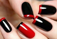 Looking for new nail art ideas for your short nails recently? These are awesome designs you can realistically accomplish–or at least ideas you can modify for your own nails! Gorgeous Nails, Pretty Nails, Tape Nail Designs, Red And White Nails, Long Square Nails, Goth Nails, Best Acrylic Nails, Toe Nail Art, Fancy Nails