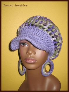 Purple Camouflage Sol Crochet Tam and Earrings by Geminisunshine, $36.00