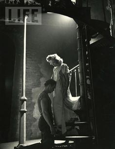 "Marlon Brando + Kim Hunter in the Broadway production of  ""A Streetcar Named Desire,"" 1947."