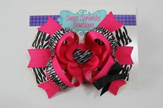 Pink Zebra Boutique Hair Bow, Shocking Pink Heart Bow