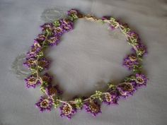 Purple Floral Beaded Lace Necklace by InciBeading on Etsy, $35.00