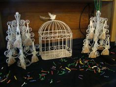 My 'Love Bird' theme wedding .. bird cage for cards and bird seed favors