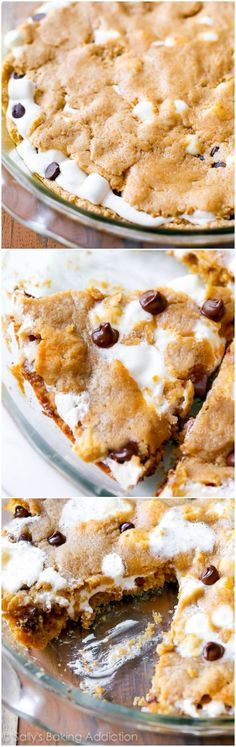 Jan if you are looking for sweet and rich, this is pretty amazing. S'MORES Chocolate Chip Cookie Pie recipe-- soft-baked and ready for you to dig in! Baking Recipes, Cookie Recipes, Dessert Recipes, Yummy Treats, Sweet Treats, Yummy Food, Chocolate Chip Cookie Pie, Chocolate Chips, Big Chocolate