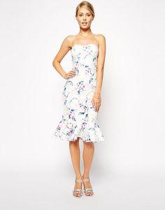 ASOS   ASOS Floral Midi Pep Hem Bandeau Dress at ASOS