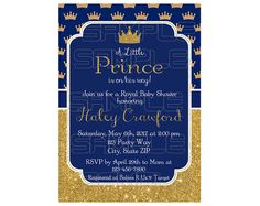 Royal Prince Baby Shower Invitation, Little Prince Baby Shower, Royal Blue Gold Baby Shower Invitation, Royal Baby Shower Invitation