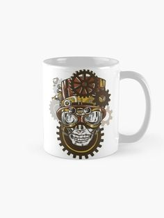 Steampunk Skull with Hat and Goggles Mug.    Cool skull wearing steampunk style accessories such as goggles and a top hat with gears on the background.  Great design for the steampunk enthusiast.    #skull #goggles #steampunk #victorian #mechanical #vintage #retro #grunge #giftideas #fashion #homedecor #artsandcrafts #stickers #redbubblestickers #redbubble #art #redbubbleshop #ad @giftsbyminuet Red Bubble Stickers, Steampunk Fashion, Gears, Grunge, Fashion Accessories, Arts And Crafts, Skull, Victorian, Hat