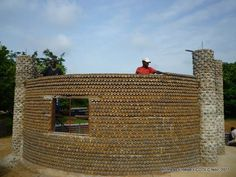 Building houses from sand-filled plastic bottles and cement creates sturdy, safe, and affordable housing for millions of people.