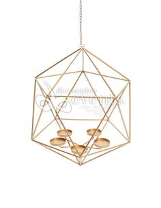Hanging Candle Holder - Gold Geo :: Decorative Events & Exhibitions Orb Chandelier, Hanging Candles, Exhibitions, Geo, Candle Holders, Events, Ceiling Lights, Home Decor, Decoration Home
