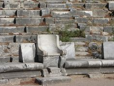 Theater seating in Priene, an Ionian Greek city in Turkey