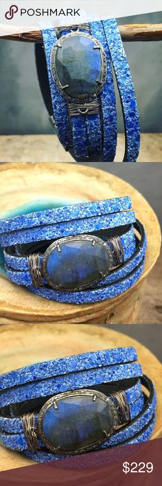 Diamonds and Labradorite leather wrap bracelet Stunning blue Labrador with a halo of diamonds with oxidized silver on a blue sequined leather wrap bracelet. A magnetic clasp makes it easy to wear and keeps it safe. Matana Jewelry Bracelets