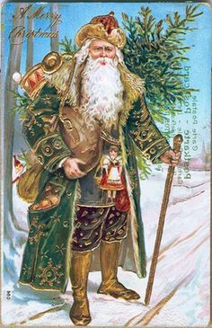 1910: a postcard with a gold embellished Santa Claus in a green coat is issued in Germany