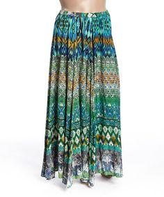 Look at this #zulilyfind! Aqua Geometric Maxi Skirt - Plus #zulilyfinds