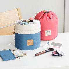 Barrel Shaped Travel Cosmetic Bag Nylon High Capacity Drawstring Elegant Drum Wash Bags Makeup Organizer Storage Bag  LX