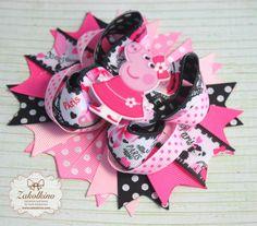 Peppa Pig Stacked hair bow  OTT hair bow  Pppa Pig by ZakolkinoCom