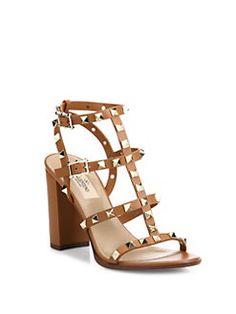 Valentino Garavani – Rockstud leather sandals with cage block heel - Heels Valentino Rockstud Sandals, Valentino Sandals, Valentino 2017, Nylons, Giuseppe Zanotti Heels, Heels Outfits, Designer Heels, Handbags Michael Kors, Leather Sandals