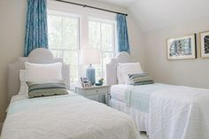 Twin Bedroom - Southern Living Inspired Home at Habersham - Southernliving. Sea tones are brightened with…