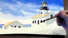 How to Paint a Lighthouse in Watercolor - Step 6: Painting the Roof