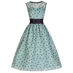 1b7704aa36 Simply heavenly 1950s inspired sage and black polka dotted dress (I like to  call this