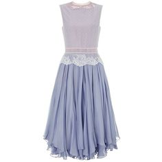 Lena Lumelsky Lavender Vintage Lace Dress (£622) ❤ liked on Polyvore featuring dresses, vestidos, платья, vintage, lavender, sheer dress, ruffle dress, eyelet dress, blue floral dress and vintage lace dress