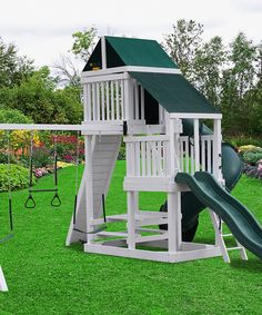 Love this White & Green Kids Swing Set by A&L Furniture on #zulily! #zulilyfinds