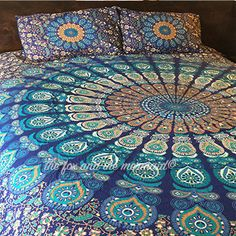 This vibrant blue and brown bedding is available as a duvet cover, flat sheet, pillowcases or any combination of the three. Available in twin and queen sizes. Available single-sided or double-sided wi