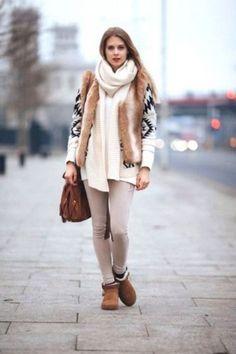 Aztec cardigan with fur vest, Knit wear street style ideas http://www.justtrendygirls.com/knit-wear-street-style-ideas/