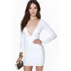 Low Cut Long Sleeve Bodycon Dress In White