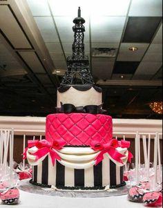 59 super Ideas for cake pink black paris theme Pretty Cakes, Cute Cakes, Beautiful Cakes, Amazing Cakes, Paris Birthday Cakes, Paris Themed Cakes, Bolo Paris, Cake Paris, Thema Paris