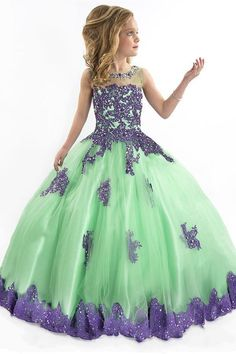 Latest Dress For Girls 2015 Vintage Ball Gown Floor Length Flower Girl Dresses For Weddings Green Toddler Gowns With Purple Lace Tulle Pageant Dresses For Girls Lime Green Flower Girl Dresses From Yate_dress, $90.4| Dhgate.Com
