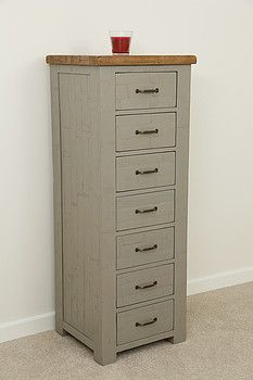 tallboyClermont Painted Rough Sawn Solid Oak 7 Drawer Chest