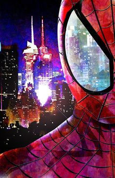 NYC according to spiderman like spray paint guy. White city close up on eye