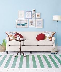lovely couch and striped rug