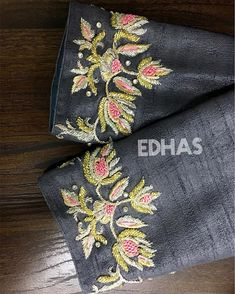EDHAS- every dress has a story! Designer boutique in MVP colony Contact us - 08912786788 . Grey over coat embellished with crystals,… Embroidery Neck Designs, Embroidery Suits Design, Hand Work Embroidery, Fancy Blouse Designs, Bridal Blouse Designs, Blouse Neck Designs, Hand Work Blouse, Maggam Work Designs, Stylish Blouse Design