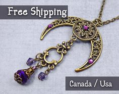 Boho Crescent Moon necklace, Pagan Jewelry, Wiccan Jewelry, Wicca Goddess…