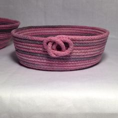 Basket Bowl (Small) - Variegated Pink/Gray Clothesline Rope by ALittleCrafTee on Etsy https://www.etsy.com/listing/198671750/basket-bowl-small-variegated-pinkgray