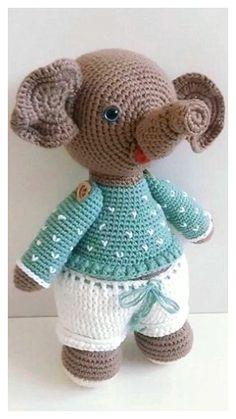 Free Crochet Elephant Pattern & many amigurumi elephant idea... Crochet Elephant Pattern, Crochet Motif, Free Crochet, Knit Crochet, Crochet Patterns, Step By Step Crochet, Learn To Crochet, Crochet Animals, Free Pattern