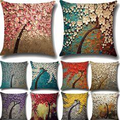 "Varios Dulce 17/"" X 17/"" Lino Look Cushion Covers Almohada Cojín no 43 X 43 Cm"