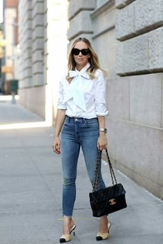 September Style: Chanel Two Tone Mules Coco Chanel, Chanel Mules, Brooklyn Blonde, Brooklyn Style, Chanel Fashion, Chanel Style, Weekend Wear, Casual Street Style, Frame Denim