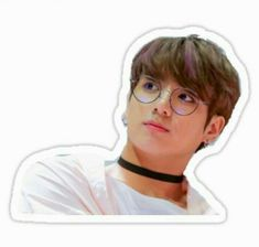 'Jungkook with glasses' Sticker by Jahnvi Modi Pop Stickers, Meme Stickers, Tumblr Stickers, Kawaii Stickers, Printable Stickers, Bts Tickets, Bts Face, Bts Drawings, Journal Stickers