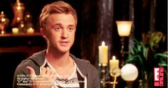 Tom Felton: It's so boring isn't it? I mean, there really should be one of us that kind of goes mental, off the rails, and does all this crazy stuff.  Interviewer: That's what Rupert says, Rupert says that everyone's waiting for someone to go nuts.  Tom: I'm waiting for Rupert to, cause he's due any second.