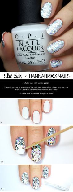 Silver Sequin Nail Tutorial #hannahroxnails #lulus #whitepolish #glitter #mani