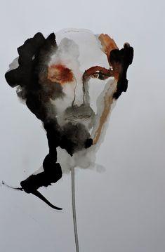 Desenho, Portrait, Nanquim, Ink - 2018 art, arte, portrait, homme, love, ink, lavis