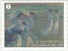 belgian stamps Artist Theo Van RysselBerghe- self adhesive.- De wandeling - 1901