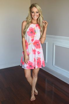 75cfb96c5937 This gorgeous dress has a bursts of neon pink flowers on it! True to size