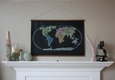 chalkboard map - a lot more affordable than the restoration hardware version i've been pining after.