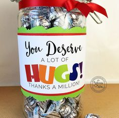The Perfect Gift: You Deserve A Lot of Hugs: Hershey Hugs for Teacher Appreciation, Neighbor Gifts, BBF Gifts Etc. You Deserve a lot of HUGS Teacher Appreciation Nurse Appreciation Employee Recognition Co-Worker Appreciation Hershey Hugs Thank you gifts Employee Appreciation Gifts, Employee Gifts, Nurse Appreciation Week, Thank You Teacher Gifts, Gifts For Coworkers, Daycare Teacher Gifts, Teacher Treats, Hershey Hugs, Employee Recognition