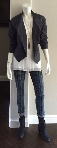 cabi Fall '15 Twilight Jacket, Adore Blouse & Grid Super Skinny Jean with socks & booties. Get them while supplies last! The season is almost a wrap!
